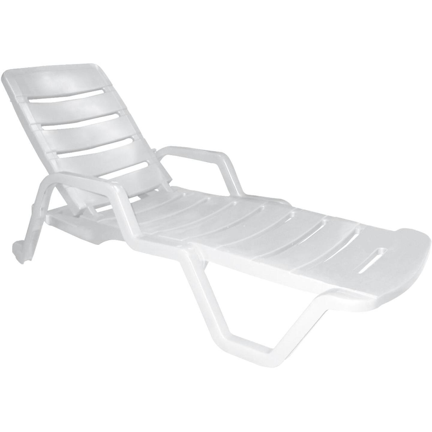 Adams White Resin Adjustable Chaise Lounge Image 1