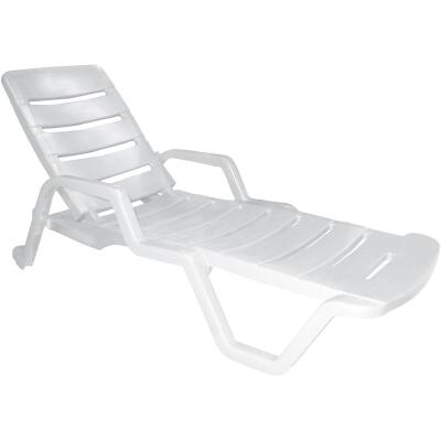 Adams White Resin Adjustable Chaise Lounge