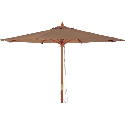 Outdoor Expressions 9 Ft. Pulley Brown Market Patio Umbrella with Chrome Plated Hardware