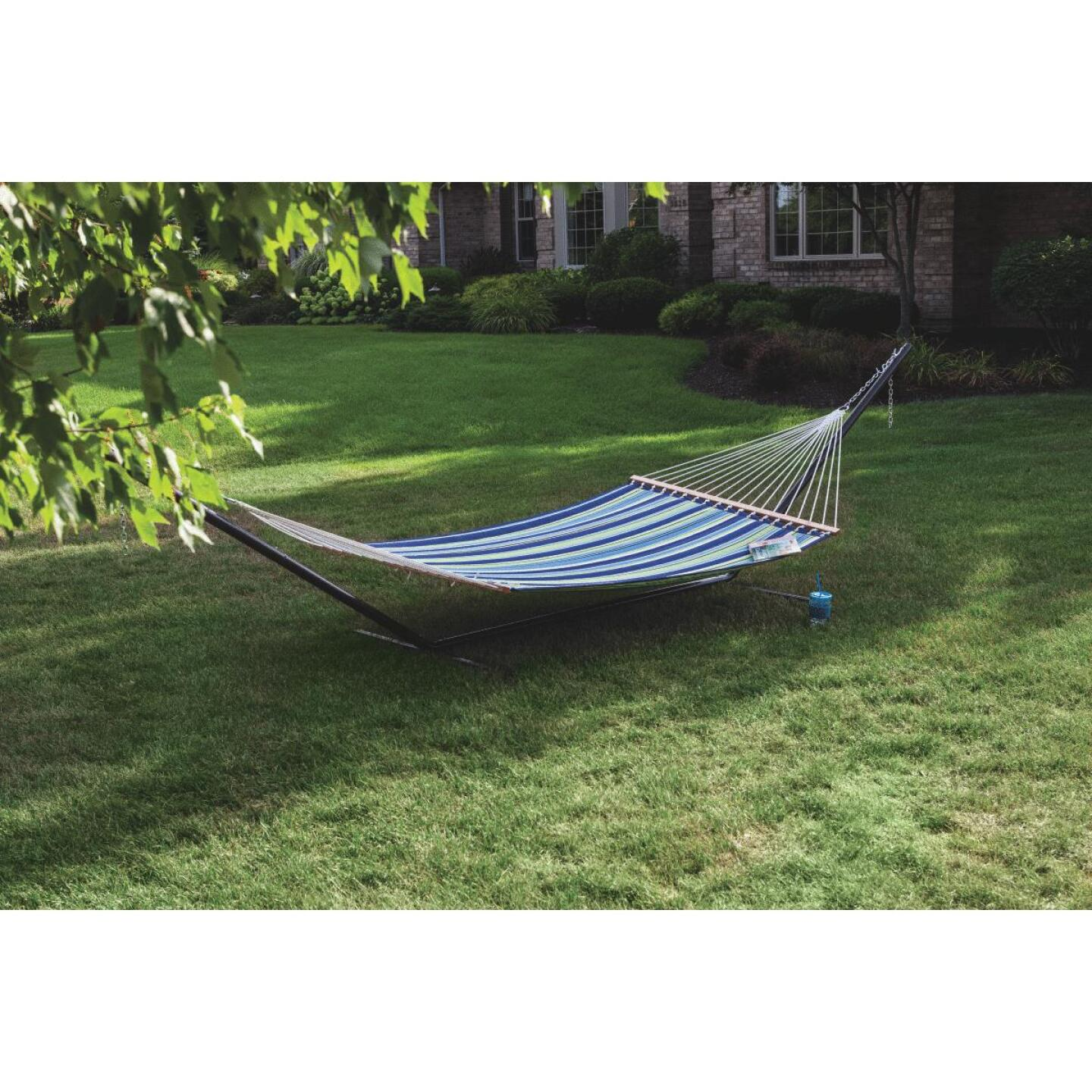 Castaway Duracord Blue & Green Striped Quilted Hammock Image 2