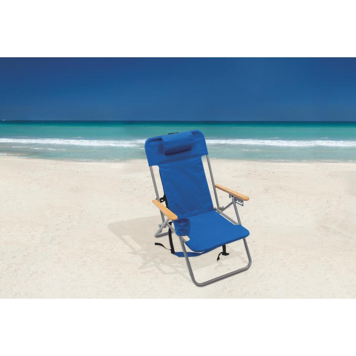 Rio Brands Blue Canvas Backpack Folding Chair Image 2