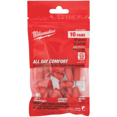 Milwaukee Foam 32 dB Ear Plugs (10-Pair)