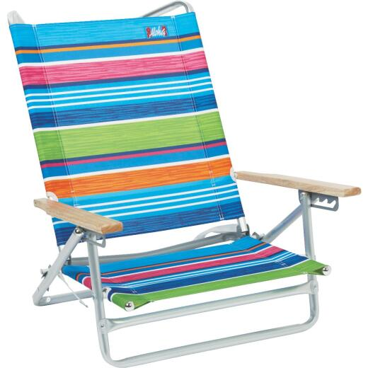Rio Brands Aloha 5-Position Striped Aluminum Folding Beach Chair
