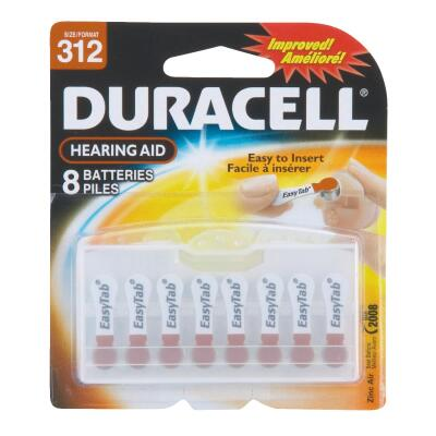 Duracell EasyTab 312 Hearing Aid Battery (8-Pack)