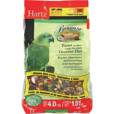 Bonanza 4 Lb. Complete Nutrition Parrot and Large Hookbill Gourmet Diet Bird Food