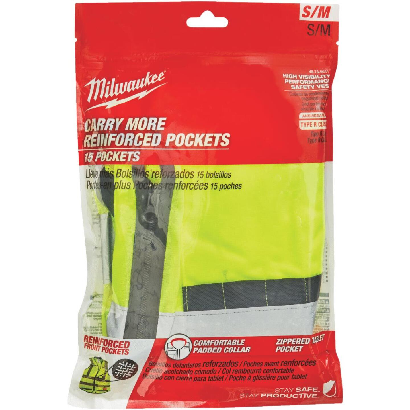 Milwaukee ANSI Class 2 Hi Vis Yellow Performance Safety Vest Small/Medium Image 2