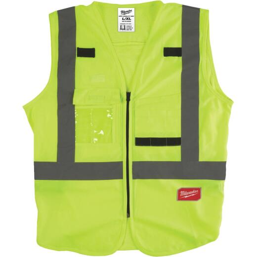 Milwaukee ANSI Class 2 Hi Vis Yellow Safety Vest Large/XL