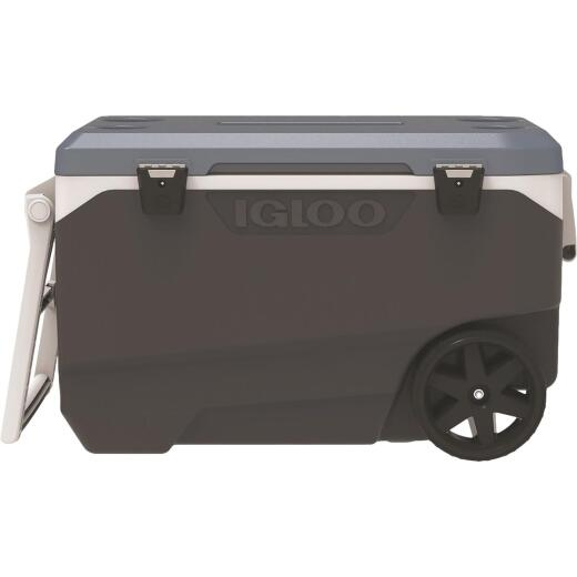 Igloo MaxCold Latitude 90 Qt. 2-Wheeled Cooler, Jet Carbon & Ice Blue