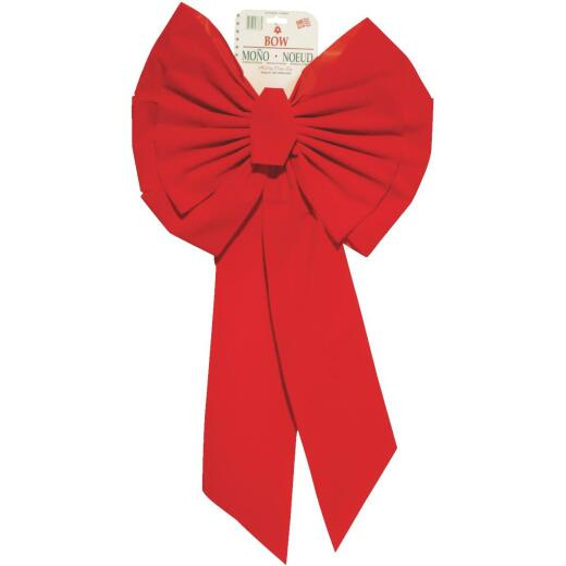 Holiday Trims 11-Loop 18 In. W. x 35 In. L. Red Velvet Christmas Bow