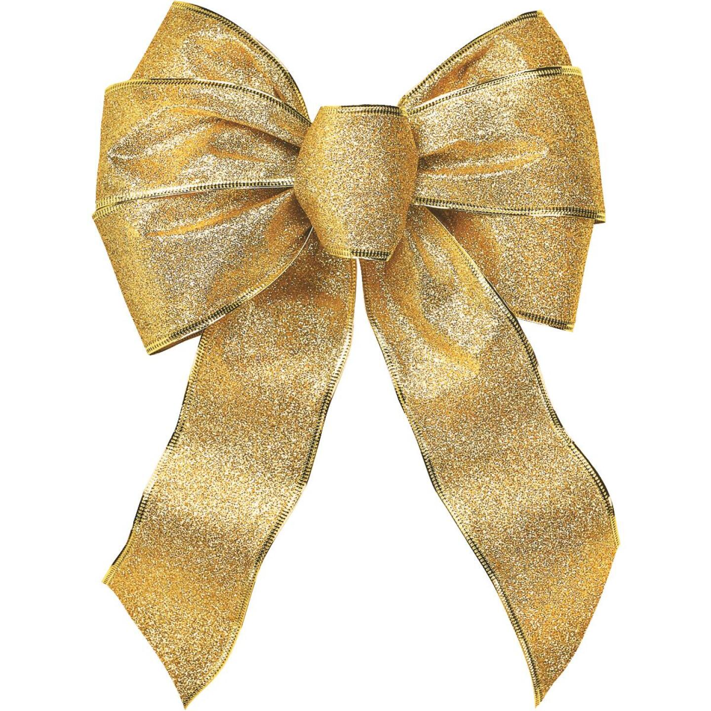 Holiday Trims 7-Loop 8-1/2 In. W. x 14 In. L. Assorted Glitter Christmas Bow Image 2