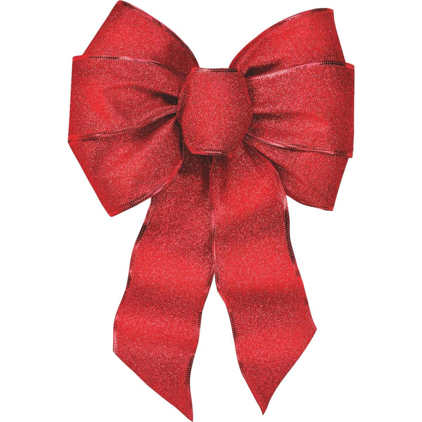 Holiday Trims 7-Loop 8-1/2 In. W. x 14 In. L. Assorted Glitter Christmas Bow Image 3