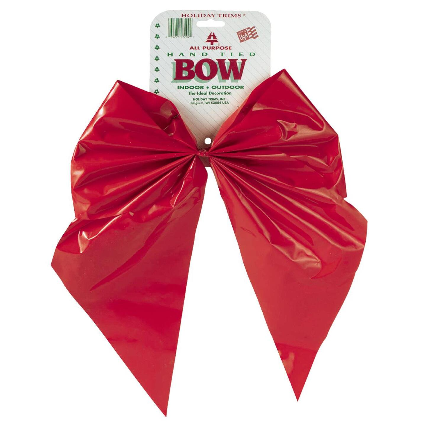 Holiday Trims 2-Loop 11 In. W. x 15-1/2 In. L. Red Plastic Outdoor Christmas Bow Image 1